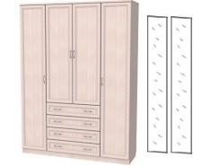 Шкаф для белья со штангой, полками и ящиками 110+2 зеркала 3100 молочный дуб