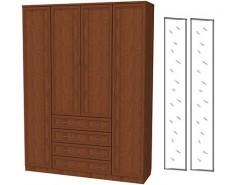 Шкаф для белья со штангой, полками и ящиками 110+2 зеркала 3100 дуб