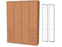 Шкаф для белья со штангой, полками и ящиками 112+2 зеркала 3100 ольха