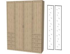 Шкаф для белья со штангой, полками и ящиками 112+2 зеркала 3100 дуб сонома