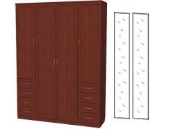 Шкаф для белья со штангой, полками и ящиками 112+2 зеркала 3100 итальянский орех