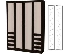 Шкаф для белья со штангой, полками и ящиками 112+2 зеркала 3100 венге