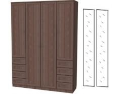Шкаф для белья со штангой, полками и ящиками 112+2 зеркала 3100 ясень шимо