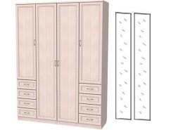 Шкаф для белья со штангой, полками и ящиками 112+2 зеркала 3100 молочный дуб