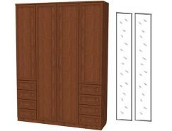 Шкаф для белья со штангой, полками и ящиками 112+2 зеркала 3100 дуб