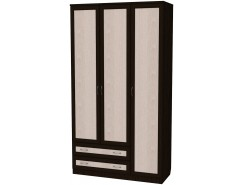 Шкаф для белья со штангой, полками и ящиками 114 венге