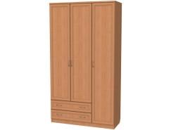 Шкаф для белья со штангой, полками и ящиками 114 ольха