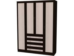 Шкаф для белья со штангами, полками и ящиками 110 венге