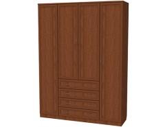 Шкаф для белья со штангами, полками и ящиками 110 дуб