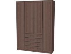 Шкаф для белья со штангами, полками и ящиками 110 ясень шимо