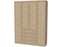 Шкаф для белья со штангой, полками и ящиками 112 дуб сонома