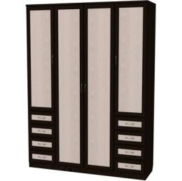 Шкаф для белья со штангой, полками и ящиками 112 венге