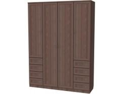 Шкаф для белья со штангой, полками и ящиками 112 ясень шимо
