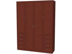 Шкаф для белья со штангой, полками и ящиками 112 итальянский орех
