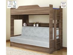 Двухъярусная кровать с диваном-кроватью 900*1900 шимо темный
